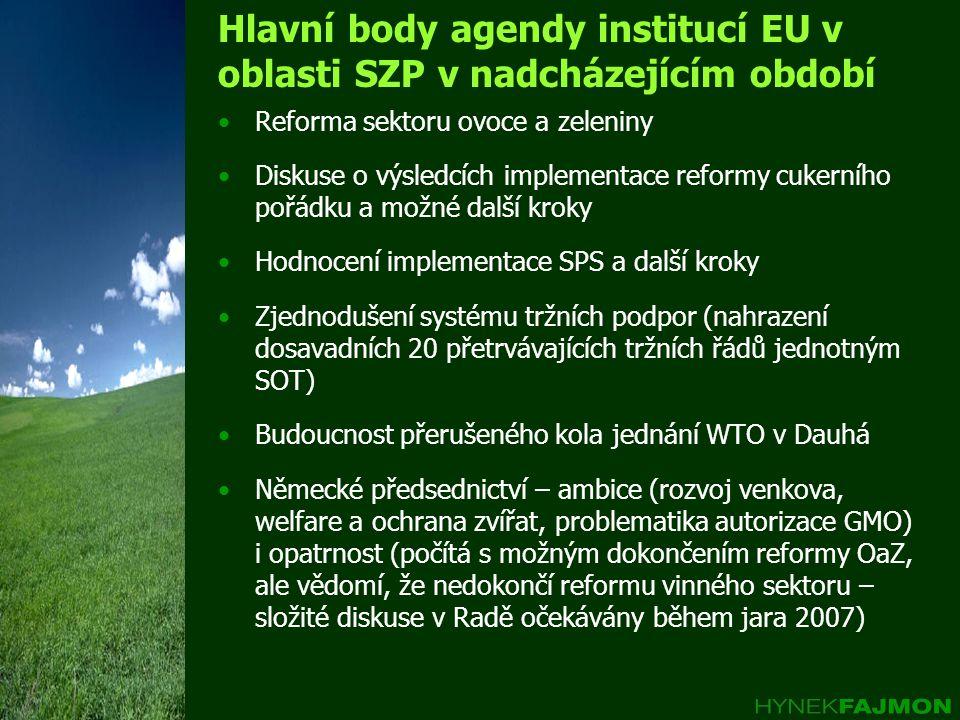 Hlavní body agendy institucí EU v oblasti SZP v nadcházejícím období •Reforma sektoru ovoce a zeleniny •Diskuse o výsledcích implementace reformy cuke