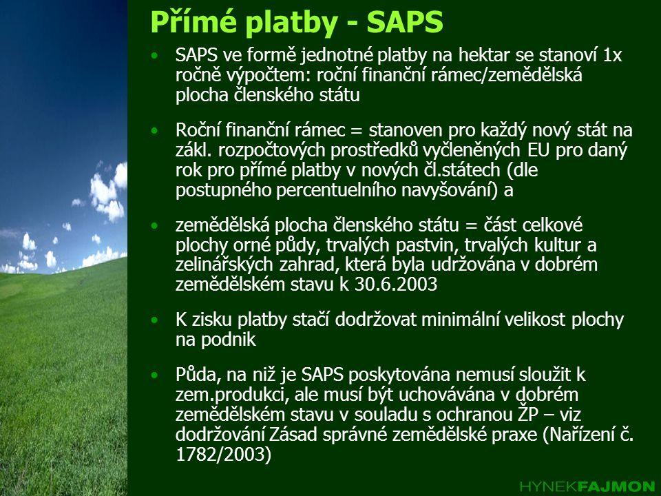 Přímé platby - SAPS •SAPS ve formě jednotné platby na hektar se stanoví 1x ročně výpočtem: roční finanční rámec/zemědělská plocha členského státu •Roč