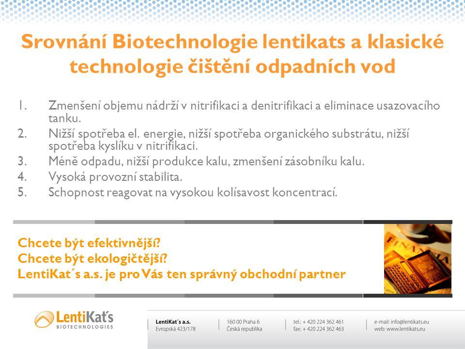 Srovnání Biotechnologie lentikats a klasické technologie čištění odpadních vod 1.Zmenšení objemu nádrží v nitrifikaci a denitrifikaci a eliminace usaz