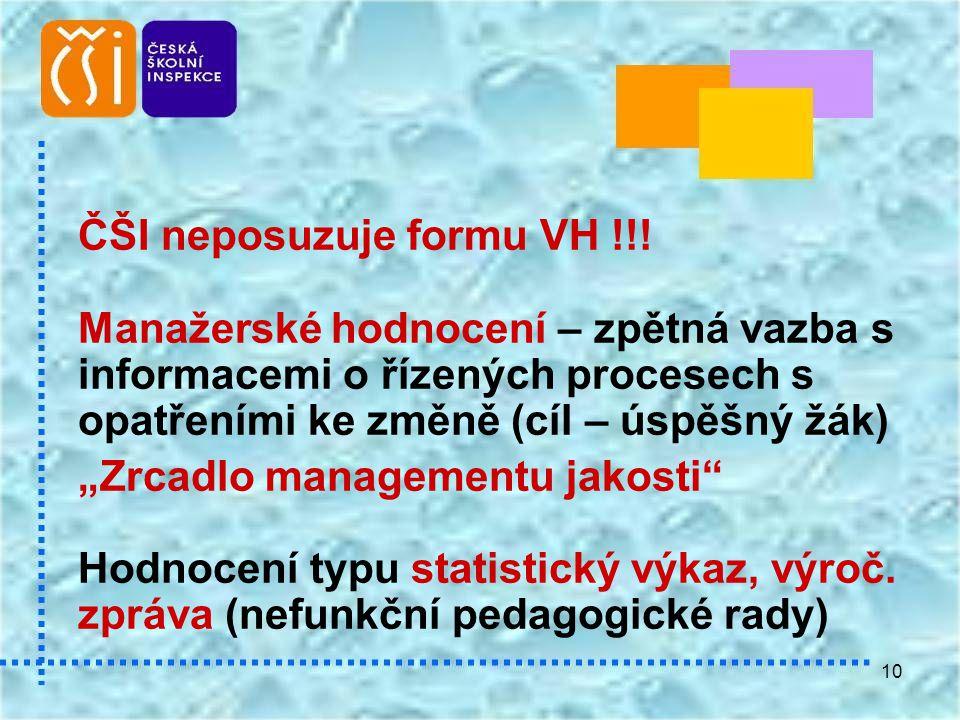 """10 ČŠI neposuzuje formu VH !!! Manažerské hodnocení – zpětná vazba s informacemi o řízených procesech s opatřeními ke změně (cíl – úspěšný žák) """"Zrcad"""