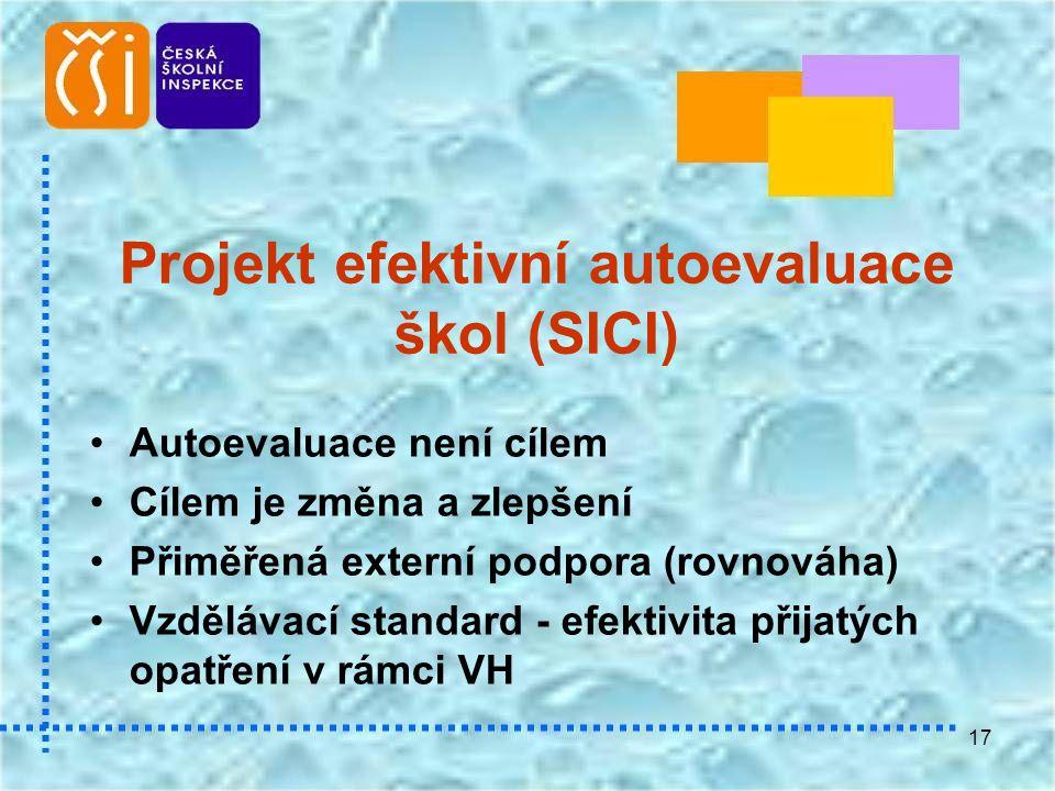 17 Projekt efektivní autoevaluace škol (SICI) •Autoevaluace není cílem •Cílem je změna a zlepšení •Přiměřená externí podpora (rovnováha) •Vzdělávací s