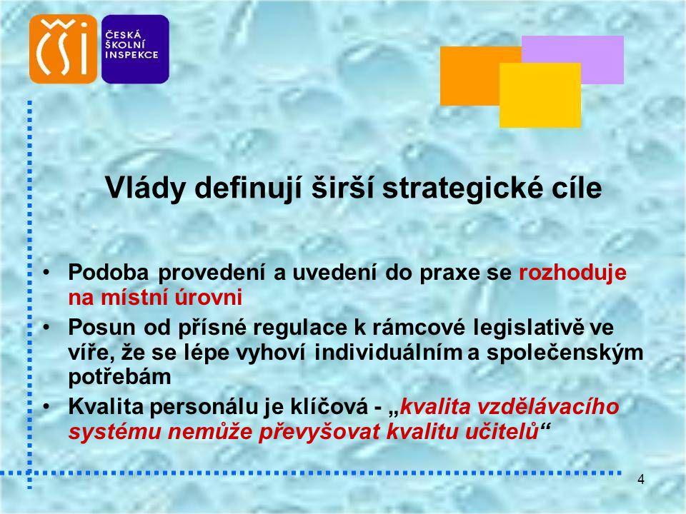 4 Vlády definují širší strategické cíle •Podoba provedení a uvedení do praxe se rozhoduje na místní úrovni •Posun od přísné regulace k rámcové legisla