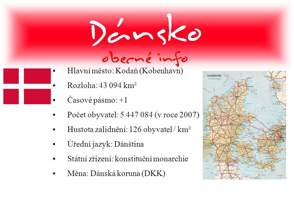 •Hlavní město: Kodaň (Kobenhavn) •Rozloha: 43 094 km² •Časové pásmo: +1 •Počet obyvatel: 5 447 084 (v roce 2007) •Hustota zalidnění: 126 obyvatel / km
