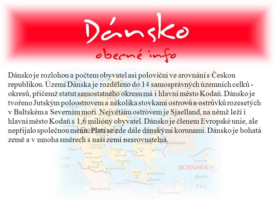 Dánsko je rozlohou a počtem obyvatel asi poloviční ve srovnání s Českou republikou. Území Dánska je rozděleno do 14 samosprávných územních celků - okr