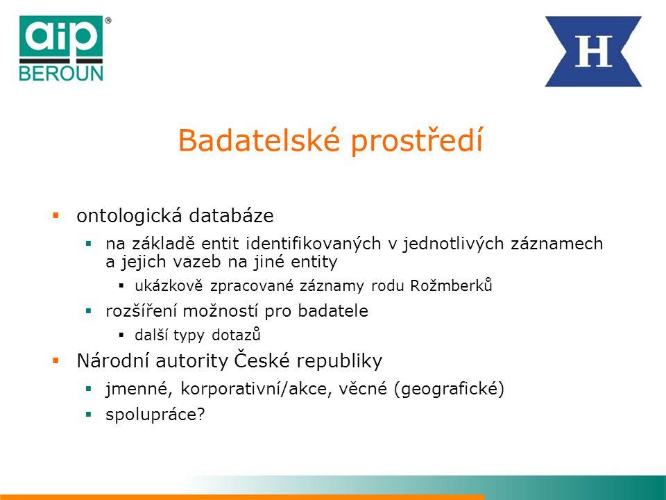 Badatelské prostředí  ontologická databáze  na základě entit identifikovaných v jednotlivých záznamech a jejich vazeb na jiné entity  ukázkově zpra