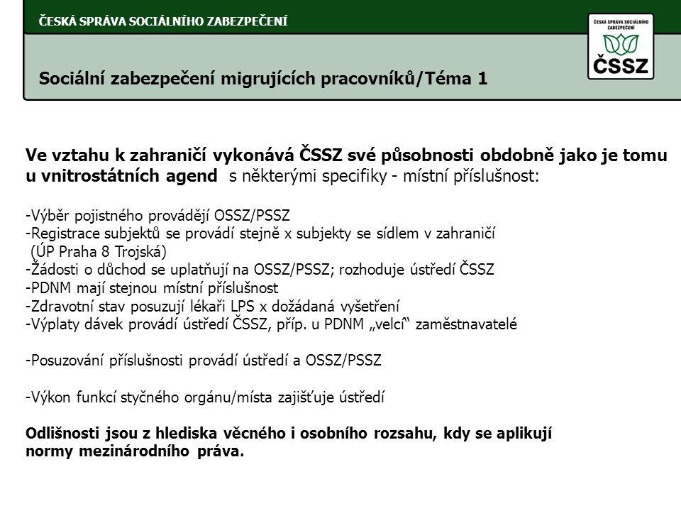 ČESKÁ SPRÁVA SOCIÁLNÍHO ZABEZPEČENÍ Sociální zabezpečení migrujících pracovníků/Téma 1 Ve vztahu k zahraničí vykonává ČSSZ své působnosti obdobně jako