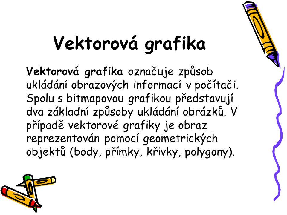 Vektorová grafika Vektorová grafika označuje způsob ukládání obrazových informací v počítači.