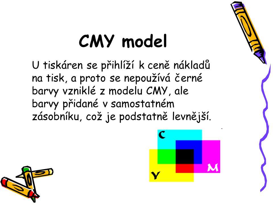 CMY model U tiskáren se přihlíží k ceně nákladů na tisk, a proto se nepoužívá černé barvy vzniklé z modelu CMY, ale barvy přidané v samostatném zásobníku, což je podstatně levnější.