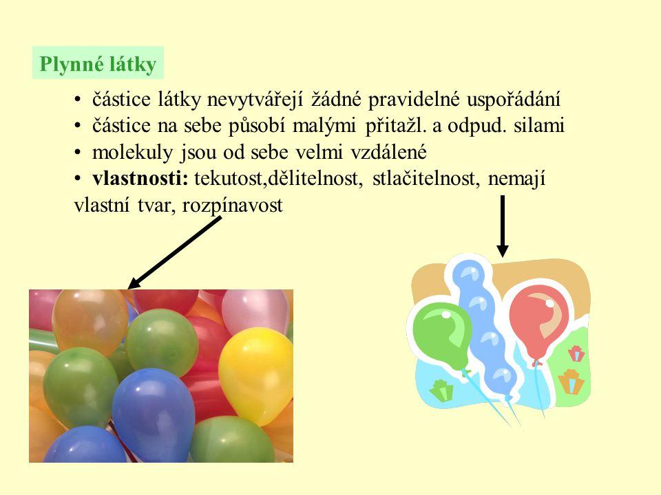 Plynné látky • částice látky nevytvářejí žádné pravidelné uspořádání • částice na sebe působí malými přitažl.
