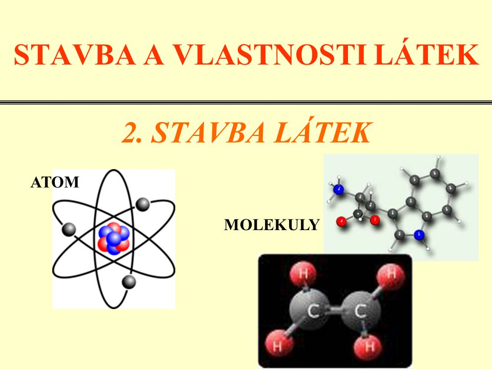 LÁTKY (tělesa) se skládají z částic: atom - nejmenší částice látky molekula - složena z jednoho nebo více atomů •ATOM•MOLEKULA