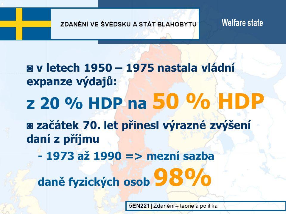 ZDANĚNÍ VE ŠVÉDSKU A STÁT BLAHOBYTU 5EN221   Zdanění – teorie a politika 1,6 %