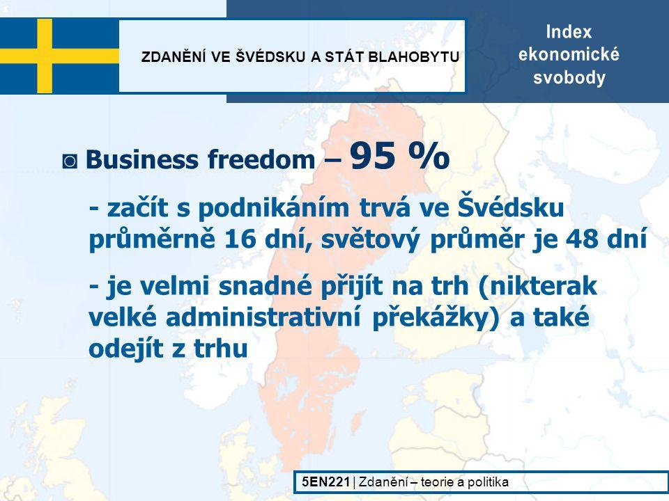 ZDANĚNÍ VE ŠVÉDSKU A STÁT BLAHOBYTU 5EN221   Zdanění – teorie a politika - trh je poměrně otevřený ◙ Trade freedom – 76.6 % ◙ Fiscal freedom – 53.6 % - způsobeno vysokými daněmi a mírou přerozdělování