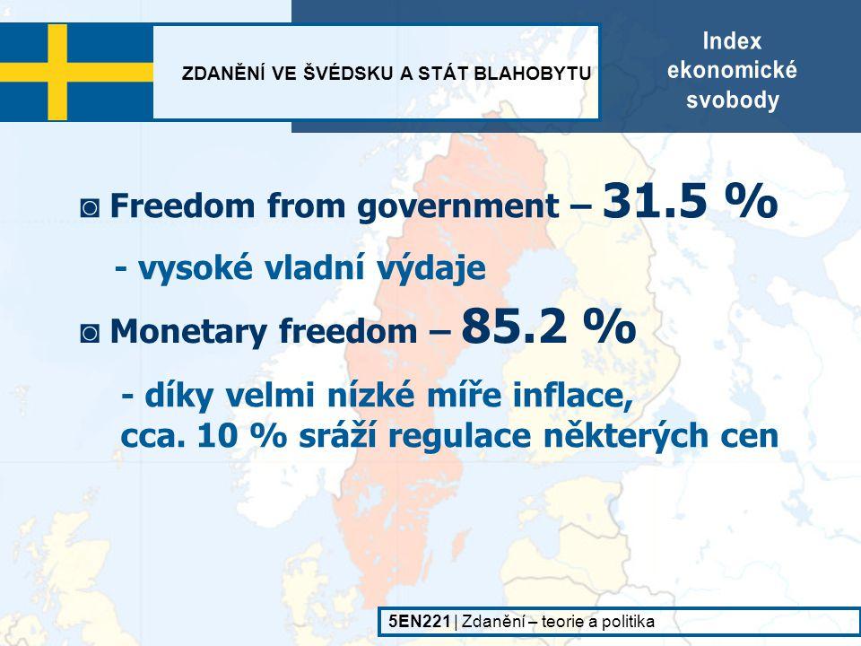ZDANĚNÍ VE ŠVÉDSKU A STÁT BLAHOBYTU 5EN221   Zdanění – teorie a politika - malé bariéry pro zahraniční investice ◙ Investment freedom – 80.0 % ◙ Financial freedom – 85.2 % ◙ Property rights – 85.2 %