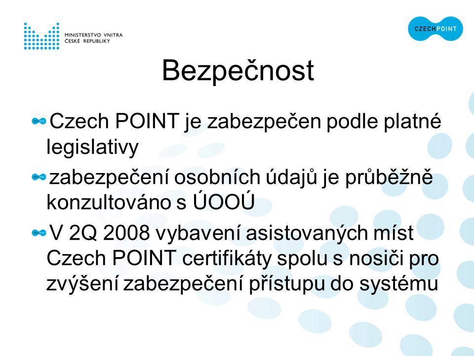 Bezpečnost Czech POINT je zabezpečen podle platné legislativy zabezpečení osobních údajů je průběžně konzultováno s ÚOOÚ V 2Q 2008 vybavení asistovaný