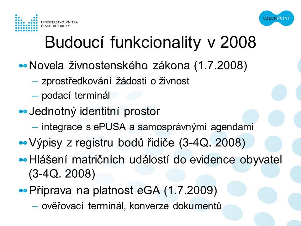Novela živnostenského zákona (1.7.2008) –zprostředkování žádosti o živnost –podací terminál Jednotný identitní prostor –integrace s ePUSA a samosprávn