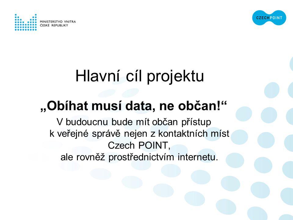 """Hlavní cíl projektu """"Obíhat musí data, ne občan!"""" V budoucnu bude mít občan přístup k veřejné správě nejen z kontaktních míst Czech POINT, ale rovněž"""