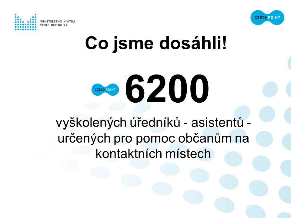 Co jsme dosáhli! 6200 vyškolených úředníků - asistentů - určených pro pomoc občanům na kontaktních místech
