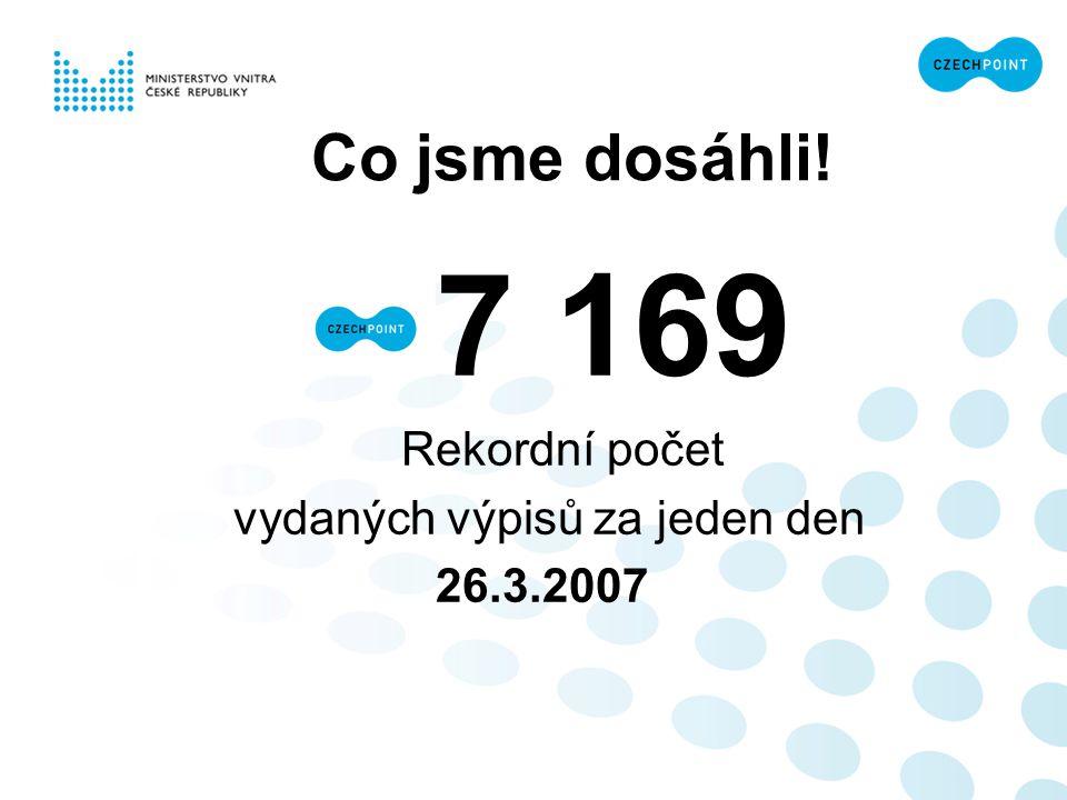Co jsme dosáhli! 7 169 Rekordní počet vydaných výpisů za jeden den 26.3.2007