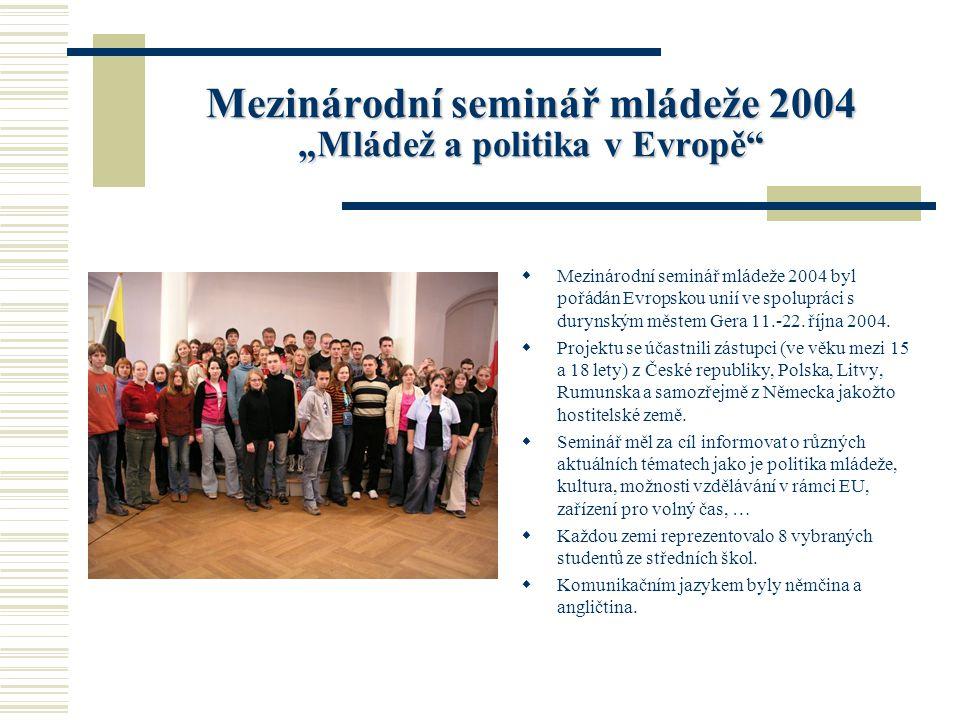 """Mezinárodní seminář mládeže 2004 """"Mládež a politika v Evropě  Mezinárodní seminář mládeže 2004 byl pořádán Evropskou unií ve spolupráci s durynským městem Gera 11.-22."""