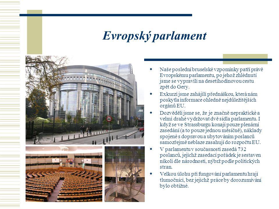 Evropský parlament  Naše poslední bruselské vzpomínky patří právě Evropskému parlamentu, po jehož zhlédnutí jsme se vypravili na desetihodinovou cestu zpět do Gery.
