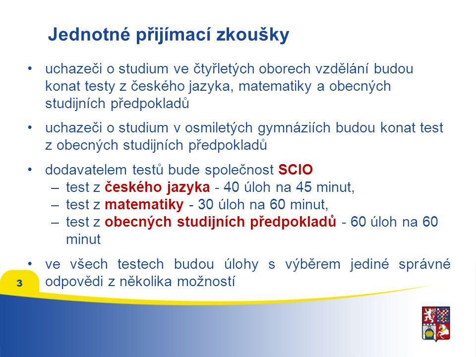 3 •uchazeči o studium ve čtyřletých oborech vzdělání budou konat testy z českého jazyka, matematiky a obecných studijních předpokladů •uchazeči o studium v osmiletých gymnáziích budou konat test z obecných studijních předpokladů •dodavatelem testů bude společnost SCIO –test z českého jazyka - 40 úloh na 45 minut, –test z matematiky - 30 úloh na 60 minut, –test z obecných studijních předpokladů - 60 úloh na 60 minut •ve všech testech budou úlohy s výběrem jediné správné odpovědi z několika možností