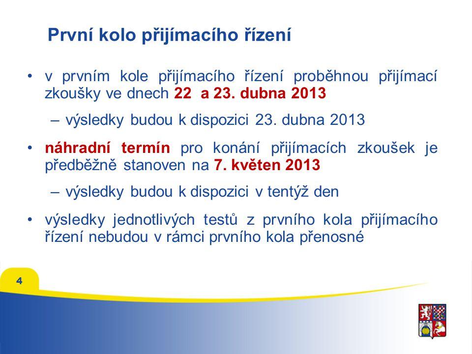 První kolo přijímacího řízení •v prvním kole přijímacího řízení proběhnou přijímací zkoušky ve dnech 22 a 23.