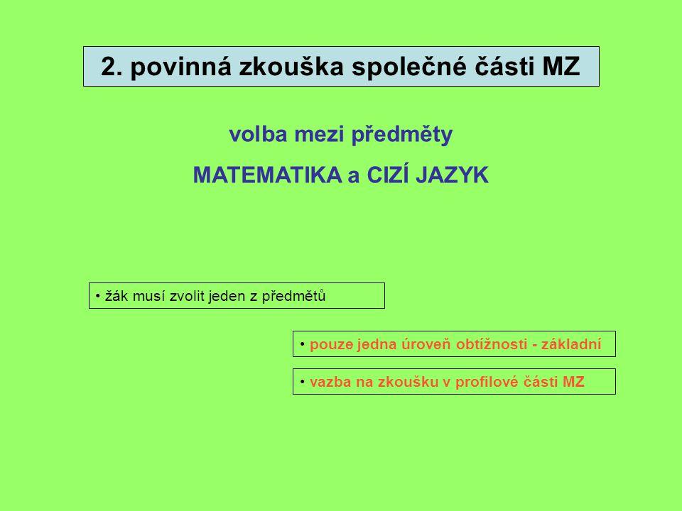 2. povinná zkouška společné části MZ volba mezi předměty MATEMATIKA a CIZÍ JAZYK • žák musí zvolit jeden z předmětů • vazba na zkoušku v profilové čás