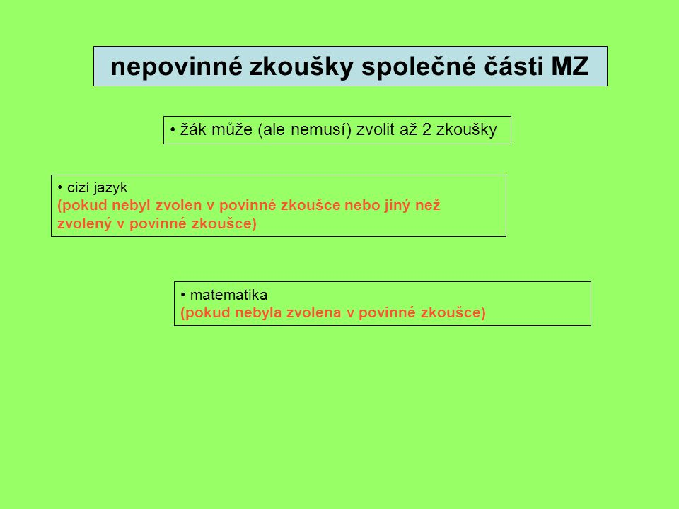 nepovinné zkoušky společné části MZ • žák může (ale nemusí) zvolit až 2 zkoušky • cizí jazyk (pokud nebyl zvolen v povinné zkoušce nebo jiný než zvole