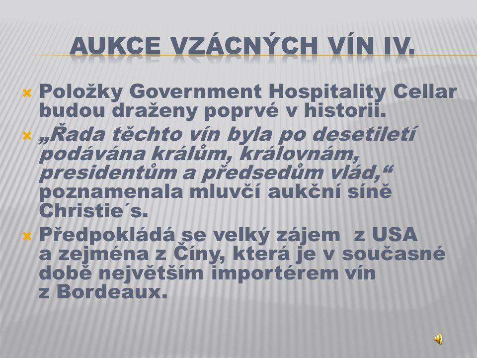  Položky Government Hospitality Cellar budou draženy poprvé v historii.