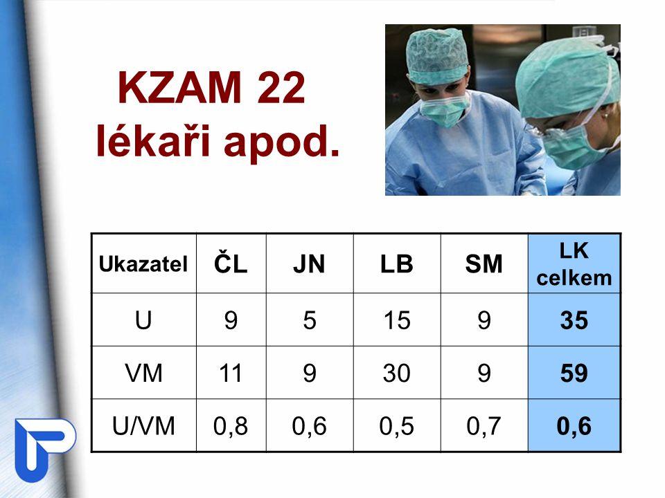 KZAM 22 lékaři apod. Ukazatel ČLJNLBSM LK celkem U9515935 VM11930959 U/VM0,80,60,50,70,6