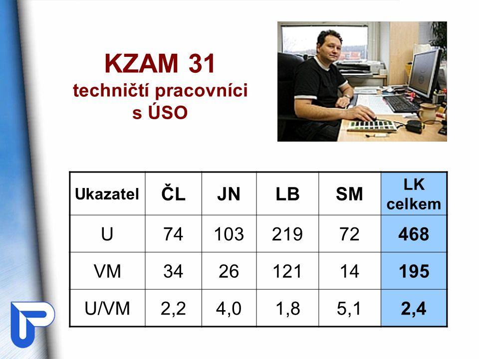 KZAM 31 techničtí pracovníci s ÚSO Ukazatel ČLJNLBSM LK celkem U7410321972468 VM342612114195 U/VM2,24,01,85,12,4