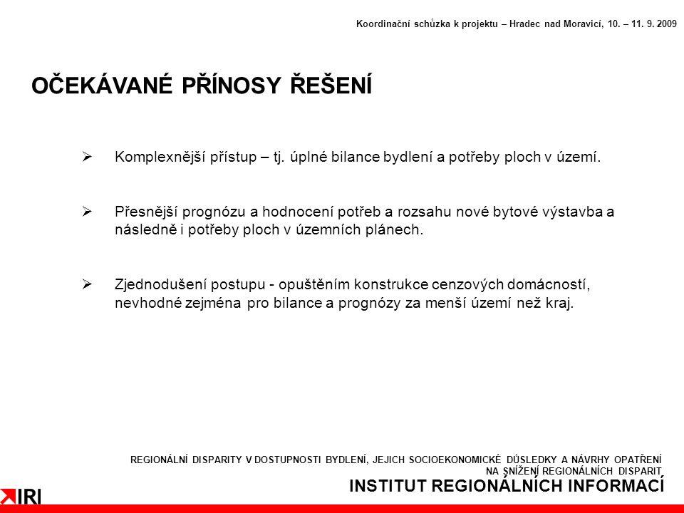 INSTITUT REGIONÁLNÍCH INFORMACÍ OČEKÁVANÉ PŘÍNOSY ŘEŠENÍ Koordinační schůzka k projektu – Hradec nad Moravicí, 10.