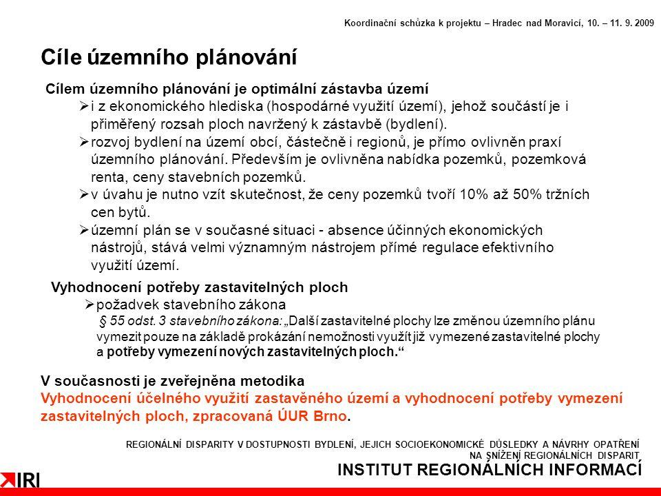 INSTITUT REGIONÁLNÍCH INFORMACÍ Cíle územního plánování Koordinační schůzka k projektu – Hradec nad Moravicí, 10.