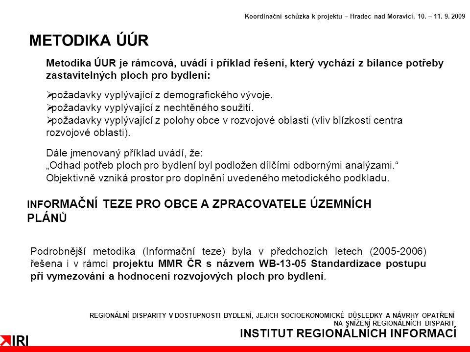 INSTITUT REGIONÁLNÍCH INFORMACÍ METODIKA ÚÚR Koordinační schůzka k projektu – Hradec nad Moravicí, 10.
