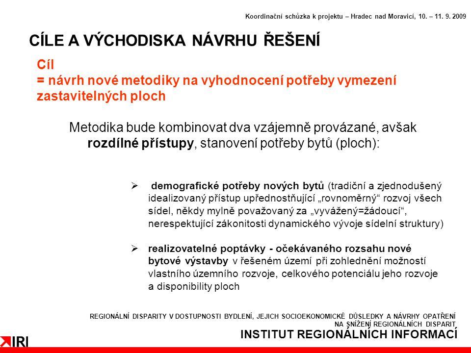 INSTITUT REGIONÁLNÍCH INFORMACÍ CÍLE A VÝCHODISKA NÁVRHU ŘEŠENÍ Koordinační schůzka k projektu – Hradec nad Moravicí, 10.