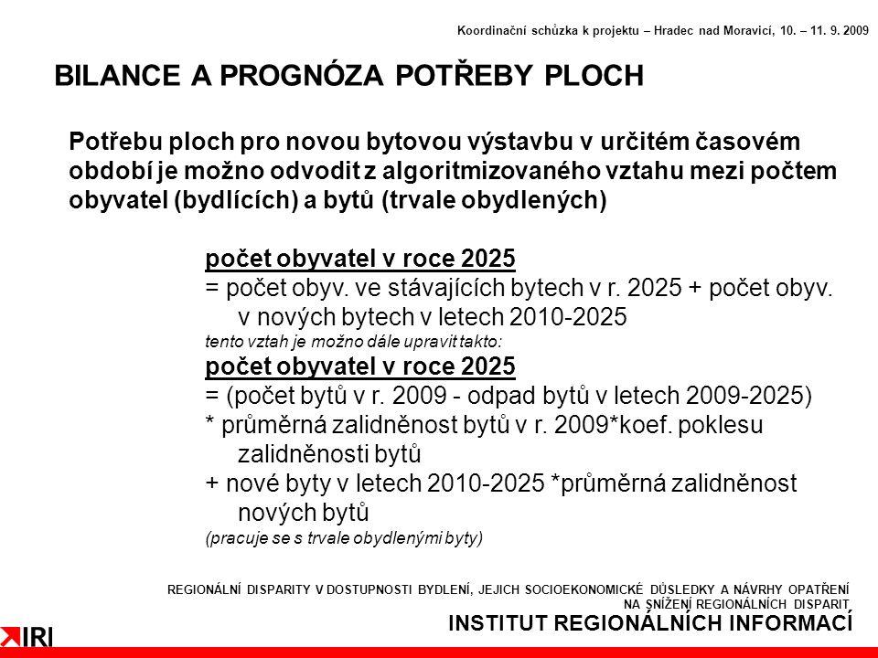 INSTITUT REGIONÁLNÍCH INFORMACÍ BILANCE A PROGNÓZA POTŘEBY PLOCH Koordinační schůzka k projektu – Hradec nad Moravicí, 10.