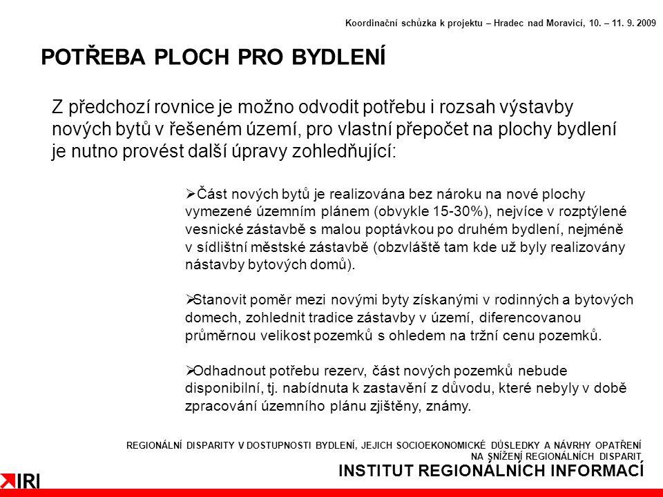INSTITUT REGIONÁLNÍCH INFORMACÍ POTŘEBA PLOCH PRO BYDLENÍ Koordinační schůzka k projektu – Hradec nad Moravicí, 10.
