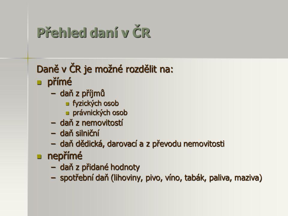 Přehled daní v ČR Daně v ČR je možné rozdělit na:  přímé –daň z příjmů  fyzických osob  právnických osob –daň z nemovitostí –daň silniční –daň dědi