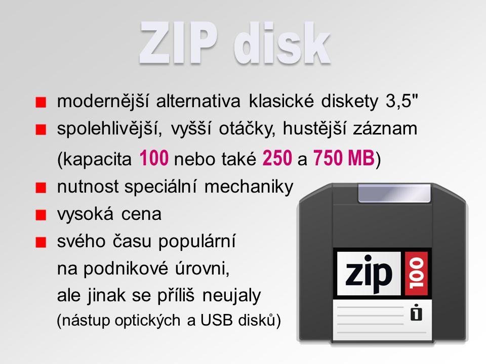 ■ Compact Disc (kompaktní disk) ■ optické medium ■ spirálovitá stopa dat snímána paprskem z laserové diody ■ kapacita 700 (650) MB Audio: 80 (74) minut