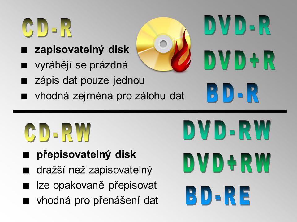 ■ Digital Versatile (víceúčelový) Disc ■ jinak též Digital Video Disc ■ konstrukce a princip velmi podobné CD (zhuštění stop) ■ kapacita 4,7 až 17,1 GB (viz.