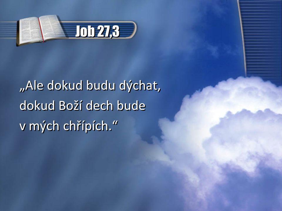 """Job 27,3 """"Ale dokud budu dýchat, dokud Boží dech bude v mých chřípích."""" """"Ale dokud budu dýchat, dokud Boží dech bude v mých chřípích."""""""