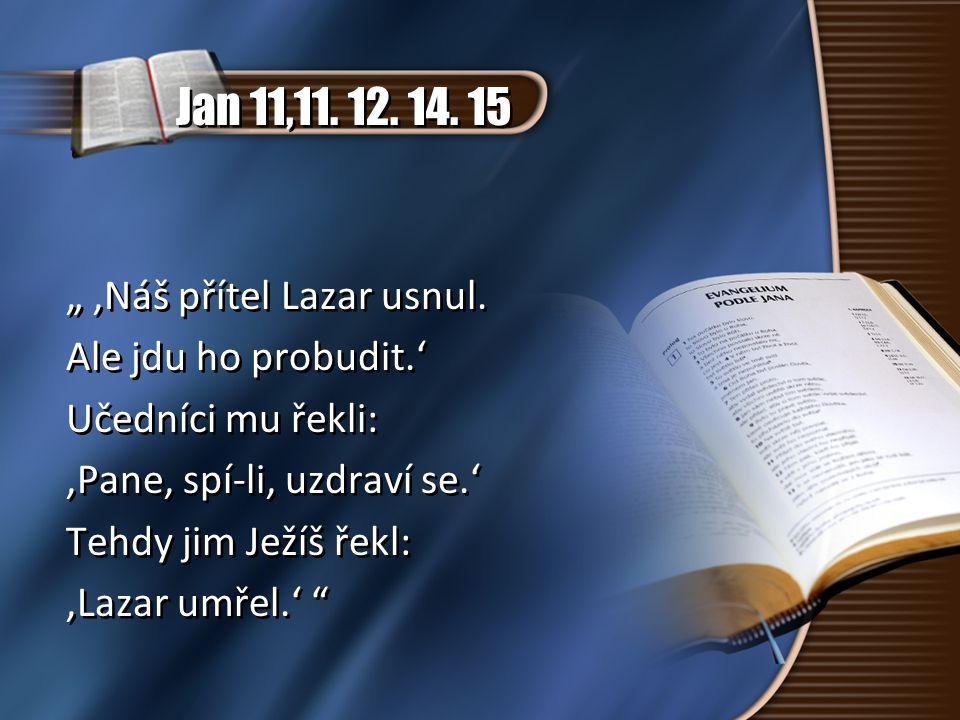"""Jan 11,11. 12. 14. 15 """" 'Náš přítel Lazar usnul. Ale jdu ho probudit.' Učedníci mu řekli: 'Pane, spí-li, uzdraví se.' Tehdy jim Ježíš řekl: 'Lazar umř"""