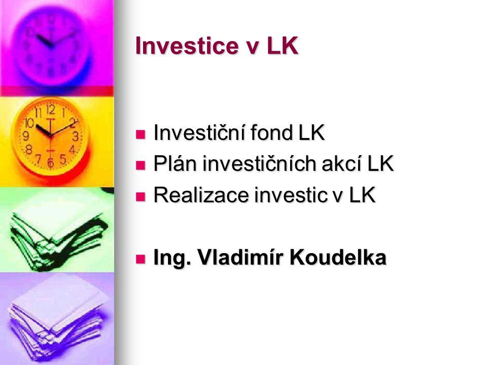 Investice v LK  Investiční fond LK  Plán investičních akcí LK  Realizace investic v LK  Ing. Vladimír Koudelka