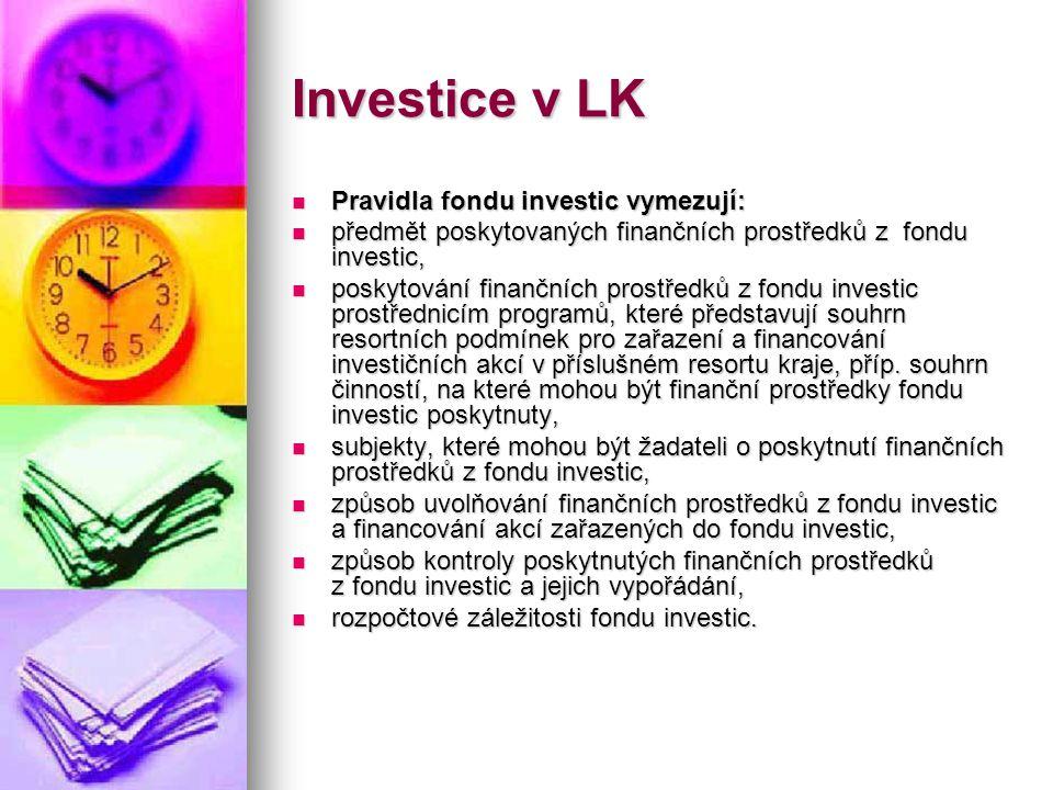 Investice v LK  Pravidla fondu investic vymezují:  předmět poskytovaných finančních prostředků z fondu investic,  poskytování finančních prostředků
