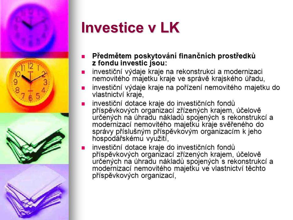 Investice v LK  Předmětem poskytování finančních prostředků z fondu investic jsou:  investiční výdaje kraje na rekonstrukci a modernizaci nemovitého