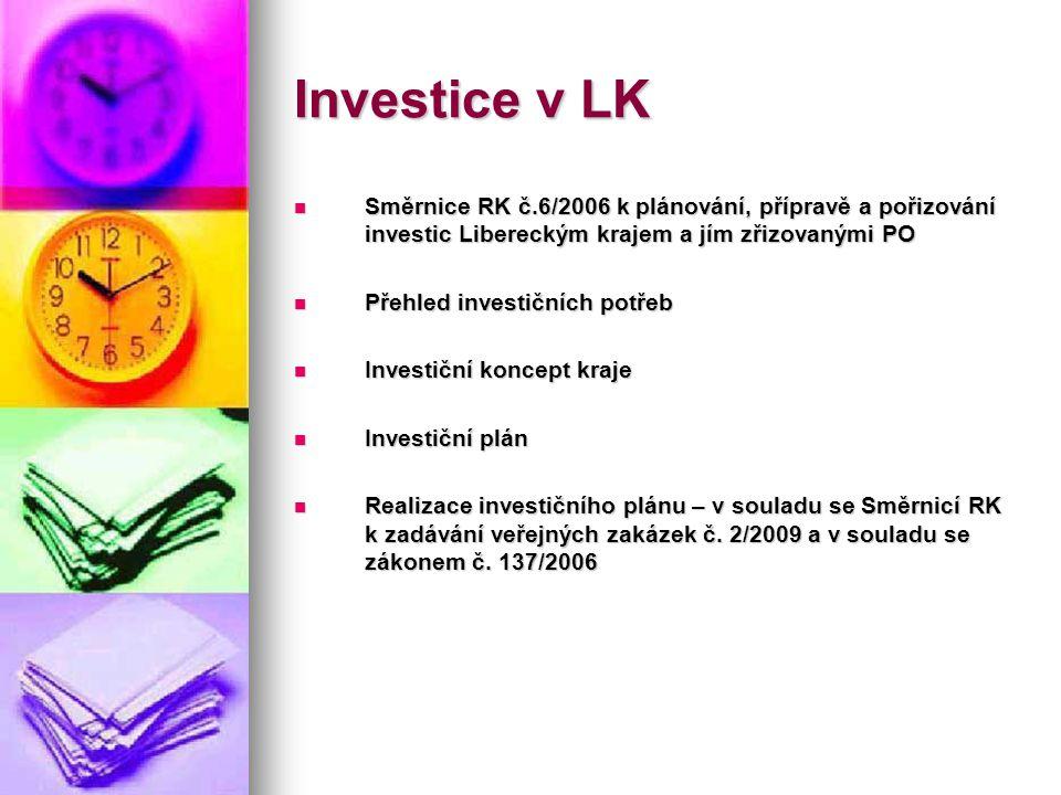 Investice v LK  Směrnice RK č.6/2006 k plánování, přípravě a pořizování investic Libereckým krajem a jím zřizovanými PO  Přehled investičních potřeb