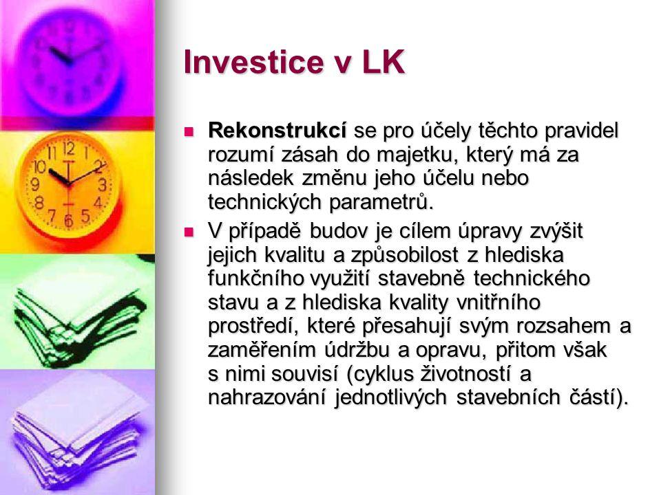 Investice v LK  Rekonstrukcí se pro účely těchto pravidel rozumí zásah do majetku, který má za následek změnu jeho účelu nebo technických parametrů.