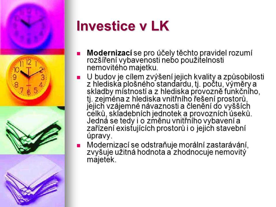 Investice v LK  Modernizací se pro účely těchto pravidel rozumí rozšíření vybavenosti nebo použitelnosti nemovitého majetku.  U budov je cílem zvýše
