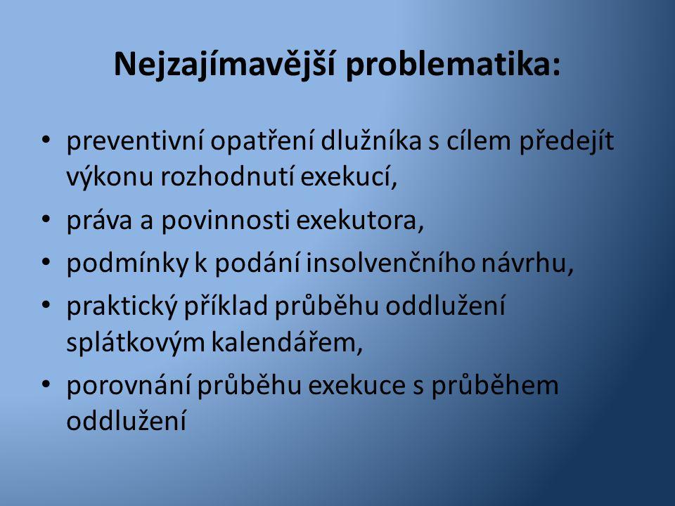 Nejzajímavější problematika: • preventivní opatření dlužníka s cílem předejít výkonu rozhodnutí exekucí, • práva a povinnosti exekutora, • podmínky k