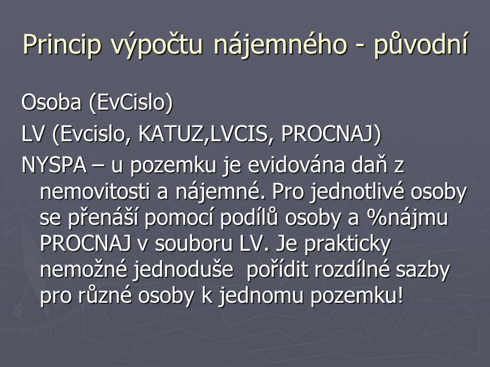 Princip výpočtu nájemného - původní Osoba (EvCislo) LV (Evcislo, KATUZ,LVCIS, PROCNAJ) NYSPA – u pozemku je evidována daň z nemovitosti a nájemné. Pro
